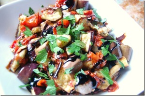 Roasted Eggplant with tomatoes and Fenugreek